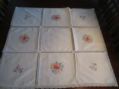 """Ivory Linen Tablecloth w/Embroidered Flowers & Crochet Edging 35"""" Square Vintage"""