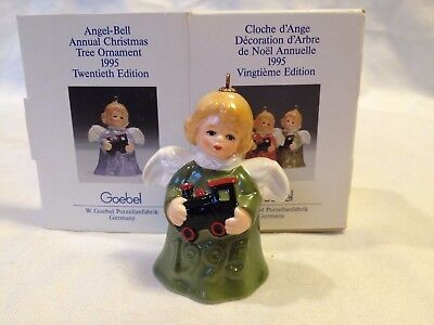 1995 Goebel Angel Bell Christmas Ornament - Green With Train - 20Th Ed.