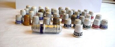 Thimble Lot Of 41 Vintage Aluminium & 1 Sewing Case Advertising Elections
