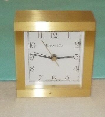 1990s Tiffany & Co. Brushed Solid Brass Quartz Table or Desk Clock with Alarm