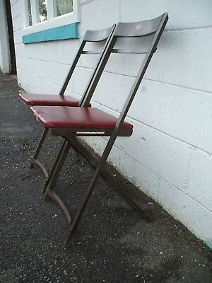 Pair Vintage Industrial Green Steel Folding Chairs  Steampunk