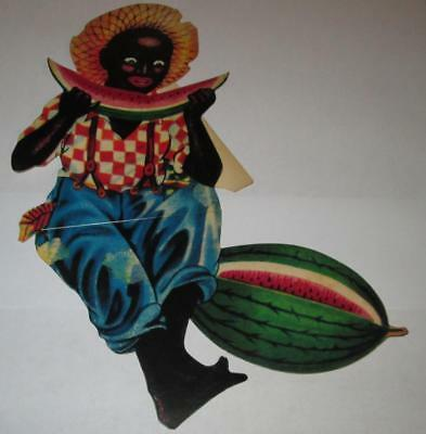 Dixie Boy Firecracker Cardboard Display Boy w/Watermelon Black Americana