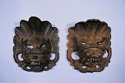 "Vintage Hindu God Narasinga / Narasimha Finely Carved 4 1/4"" Wood Masks Bali"