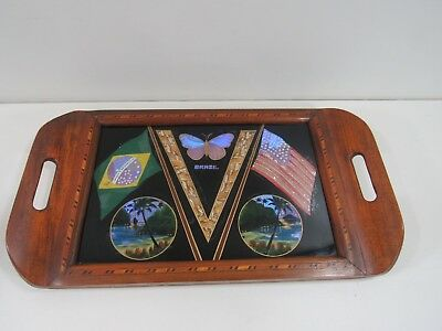 """Real Butterfly """"Brazil"""" 17"""" Tray with Ordem E. Progresso and US Flag Inlaid Trim"""