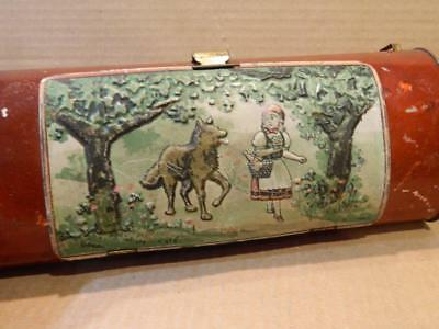 Little Red Riding Hood Tin Painted Lunch Box - Pencil Box or Purse Antique