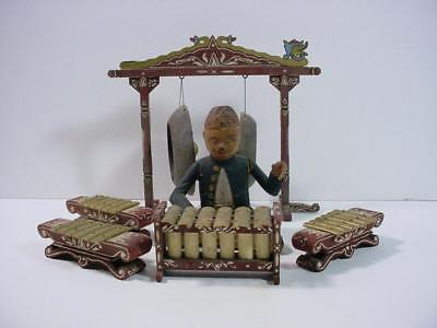 NobleSpirit NO RESERVE {3970}Vintage Carved Wood Xylophone Player w/Cymbals Toy