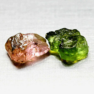 6.39Ct. Matched! Unheated Unteated Rough Pink Green Natural Tourmaline Nigeria