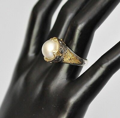 Konstantino Sz 6 Pearl Solitaire Ring 18K Yellow Gold Sterling Silver Thalia New