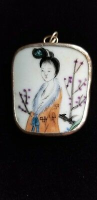 Ming Dynasty Chinese Porcelain Pottery Shard Pendant Lady In The Garden