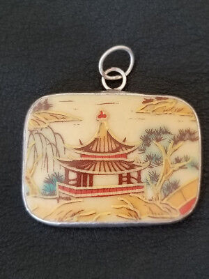 Ming Dynasty Chinese Porcelain Pottery Shard Pendant Temple