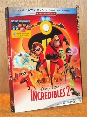 Incredibles 2 (Blu-ray/DVD, 2-Disc, 2018) DISNEY Craig T Nelson Holly Hunter
