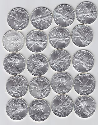 Roll of 20 1999 BU American Silver Eagles in Original Roll No Reserve!