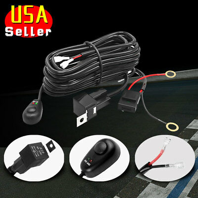 LED Light Bar Wiring Harness Kit 12V 40Amp Fuse Relay ON/OFF Switch