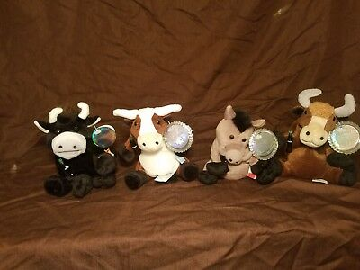 Coca Cola International Beanie Babies Lot of 4 w/tags and tag protector.