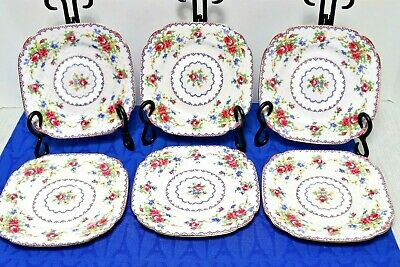 """LOT of 6 Royal Albert Petit Point 6 1/8"""" Square Bread Butter Plates, MINT !!!"""