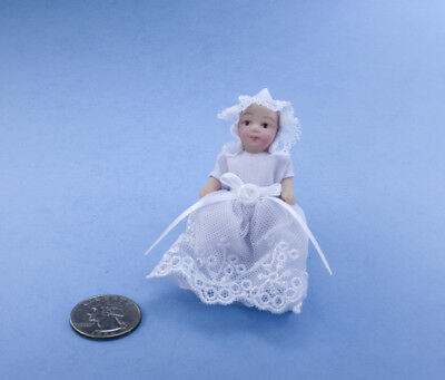 SALE! Dollhouse Miniature Porcelain Baby Doll Dressed in White Gown #S5655