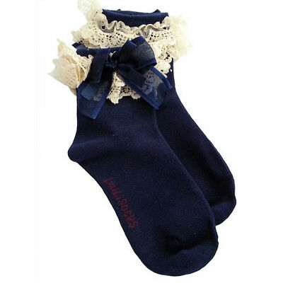 Navy S Breathable Solid Bow Children Girls Casual Socks Lace Hosiery Cotton Kids
