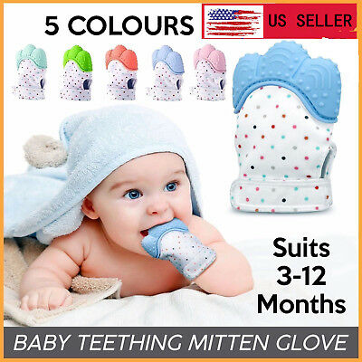 1 Pcs Food Grade Silicone Baby Teether Toys Teething Mitten Molar Gloves KL