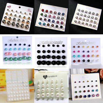 12Pairs Punk Crystal Pearl Round Men's Womens Ear Stud Earrings Set Jewellery