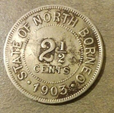 1903 State of North Borneo 2 1/2 Cents Coin Nice Shape! Malaysia