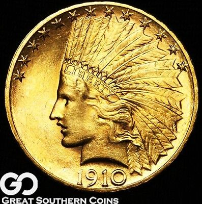 1910-S Gold Eagle, $10 Gold Indian, Nice Lustrous Solid Gem BU++, PQ Better Date