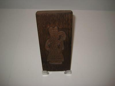 "Vintage Folk Art Hand Carved Wood Bishop / Pope Cookie Mold  ~ 7 5/8"" X 3 3/8"""