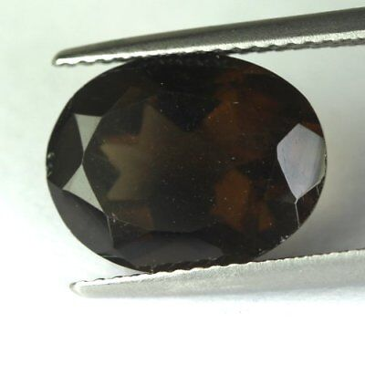 *5.29 cts.13.2 x 10.3 mm. UNHEATED NATURAL SMOKY QUARTZ OVAL MADAGASCAR