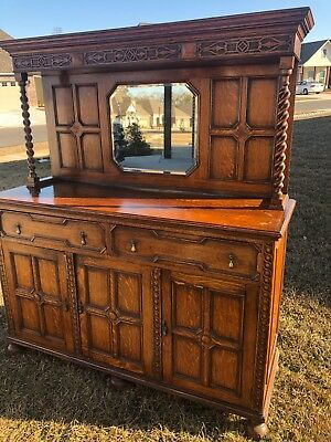 Antique Wood Buffet Cabinet with Mirror