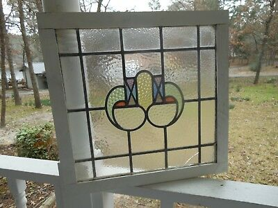 R-99 Lovely Older English Leaded Stained Glass Window Reframed