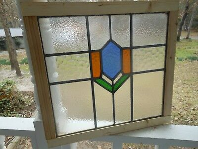 LA-99 Lovely Older English Leaded Stained Glass Window Reframed