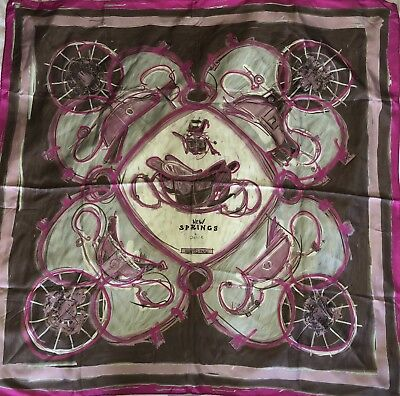 Foulard Carré Hermes 90 Soie New Springs Rare 2009 Collector Scarf 35 8afb8f2c4f6