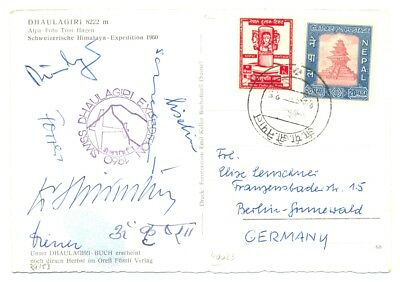 Nepal - India -Mount Everest 1960 -Swiss Expedition Ppc -Signed --Vf @1