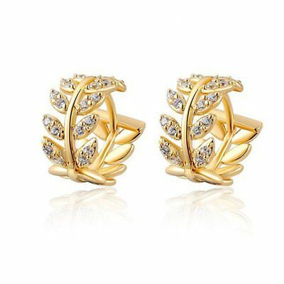 Charm Plain Leaf Wheat Hollow Crystal Ear Stud Earrings Womens Jewellery Party