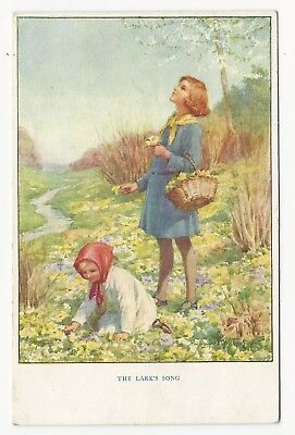 Margaret Tarrant. Two Girls Collect Flowers, Whilst Listening To The Lark Song