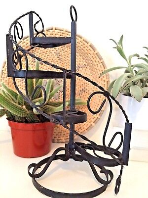 Vintage Mid Century Black Wrought Iron Spiral Staircase Plant Stand