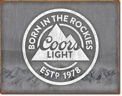 Coors Light Born in The Rockies Beer Tin Sign 16 x 13in