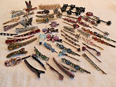 Retro Assorted Lot 56 Hair Pins  Clips Barrettes