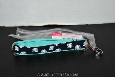 *NEW* Thirty One Hang It Up Key Chain Fob Turquoise Doodle Stripe Retired 31
