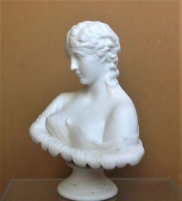 DECORATIVE WHITE CERAMIC BUST NEO-CLASSICAL LADY Woman's Head Sculpture/Ornament