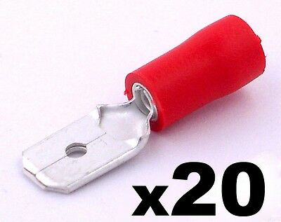 20x Red Male 6.3mm Spade Connector Insulated Crimp Terminals Electrical Wiring