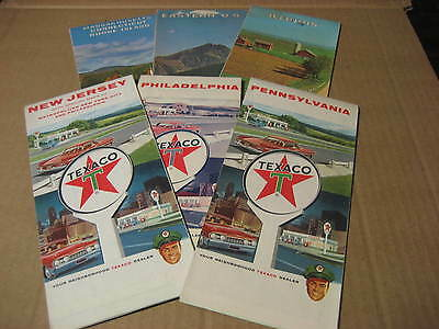 1960's Texaco Maps of Illinois, Eastern US, MA, Pennsylvania, NJ...Six (6) Maps