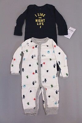 ec9072bf4 NEW CARTER S BABY Boys 2-Pk. I Like the Night Life Cotton Coveralls ...