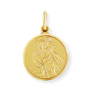 92fc8e65d34 Fine Jewellery 9CT GOLD ST CHRISTOPHER SOLID 18MM ROUND SATIN PENDANT  MEDALLION TRAVEL CHARM