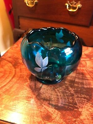 Vintage Fenton Art Glass Turquoise Rose Bowl Hand Painted with Artist Signature