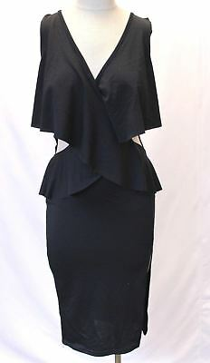 Boohoo Women s Beatrice Frill Wrap Cut Out Side Midi Dress Black 8 NWT ee890a1ae