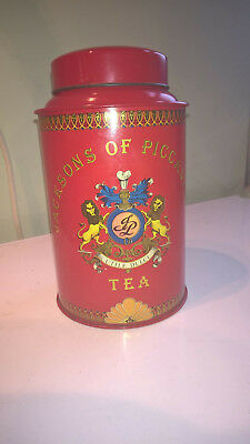 A Vintage Jacksons Of Piccadilly Tea Caddy Decorated Coat Of Arms Post Box Red