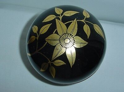 SMALL Exquisite LACQUER Wood STASH BOX Hand Painted GOLD Artistic FLOWER LEAVES