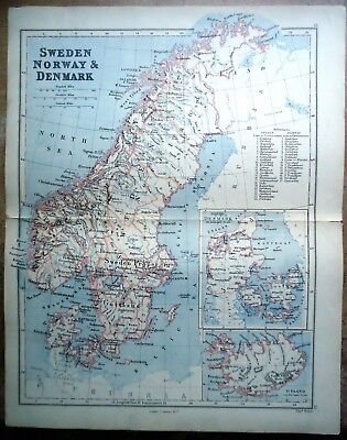 Antique MAP ~ SWEDEN NORWAY DENMARK ~ Lithographer EDWARD WELLER Longman 1888