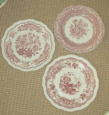 THREE Red SPODE Archive Collection Dinner Plates:  Regency, Victorian Series
