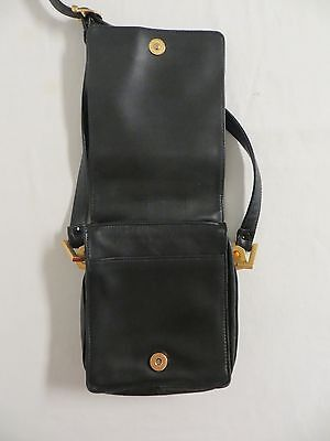 PERLINA Black Soft Leather Shoulder Bag with Gold Accents and Adjustable Strap